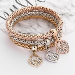 Jewelry - 😍Tri colored Stretchy pave heart bracelets